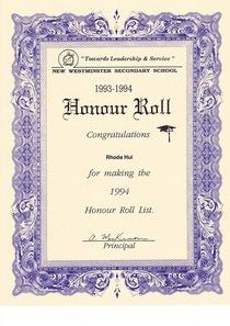 Honour roll cv