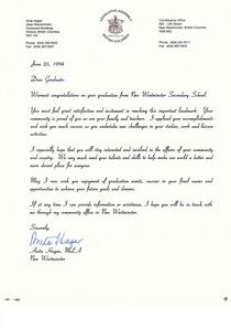 Parliament letter cv
