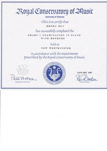 Royal conservatory of music exam cv