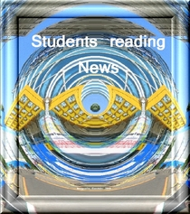 Students reading news cv