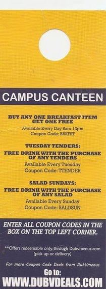 Campus canteen door hanger cv
