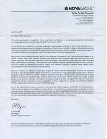 Nova reference letter cv