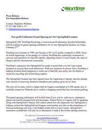 Nextstep recycling grand opening press release cv