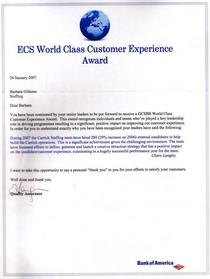 World class customer experience award cv