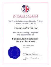 Hr certificate cv