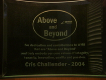 Above and beyond award 2004 cv