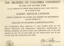 Mba degree columbia a cv