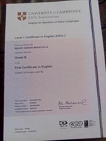 First certificate cv