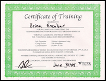 Vector training completion certificate cv