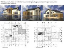 Villa house  school task for individual house including studio gym sauna and big terrace outside 2007 cv
