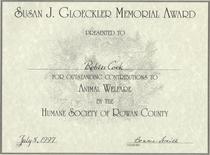 Susan gloeckler award cv