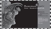 Masquerade party postcard acappella front 1 cv
