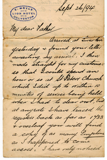 Letter posted in 1894 arp cv