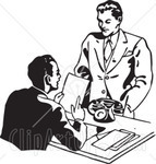 210317 royalty free rf clipart illustration of a retro black and white businessman discussing a resume with an applicant cv