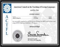 Actfl certificate cv