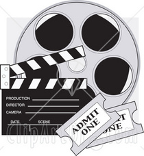 15029 two movie tickets in front of a take clapperboard and a reel of movie film clipart illustration cv