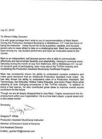 Gregory white letter cv