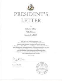 President s letter cv