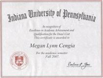 Deans list certificate cv