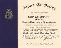 Alpha phi omega certificate 2 cv