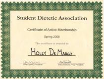 Student dietetic assoc. cv