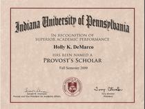 Provost scholar cv