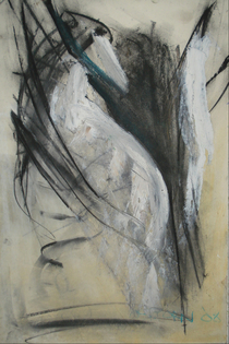 Peering bird mixed media 18 x12 2008 sold  cv