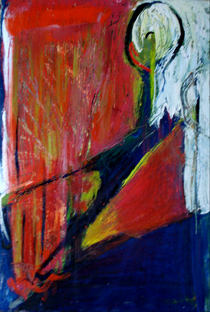 The cut oil on paper 24 x32 2010 cv