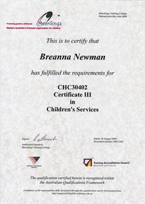 Cert iii childrens services cv