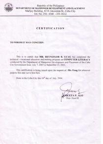 Certificate computer let. 1  cv