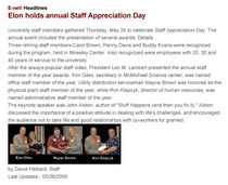 Elon annual staff appreciation day cv