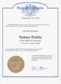 Notary seal offical document secretary of state cv