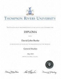 Thompson rivers university undergraduate diploma general studies david j burke cv