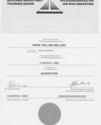 Shopfitter certificate cv