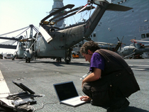 Aircraft carrier cavour haiti feb. 2010 sending clip with the bgan2 cv