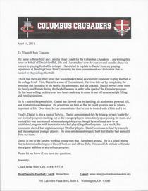 Head coach letter cv