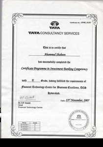 Investment banking certificate cv