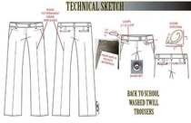 Technical sketch for back to schoolwash twill trousers.ai cv