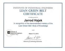 Lean green belt certification cv