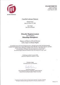 Camilla degree certificate cv
