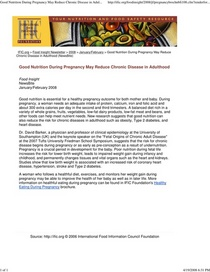 Good nutrition during pregnancy may reduce chronic disease in.. cv