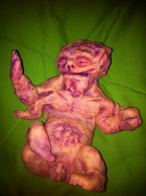 Mutant baby sculpted in sculpy and painted by me cv
