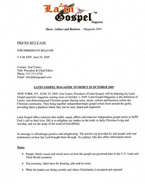 Latin gospel magazine press release october 2009 editor cv