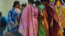 Silk brocade saris on aunties cv