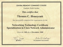 Cpcc network technology certificate specialization in cisco network administrator cv