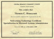 Cpcc network technology certificate specialization in microsoft systems administrator cv