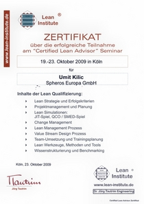 Zertifikat lean institute cv