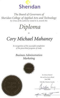 Sheridan college degree cv