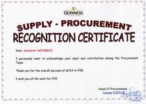 Certificate of recognition cv