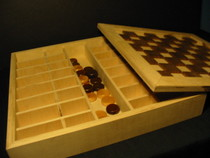 Chess and checkers game board   birch walnut cv
